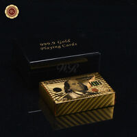 WR New Color 100 US Dollar Bill Gold Foil Plated Poker Playing Cards Wooden Box