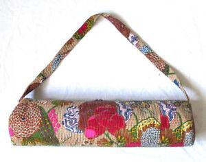 "Kantha Stitching Beige Yoga Mat Carrier Bag Hippie Gym Bags With Shoulder Strap"""