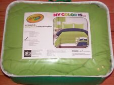 Siscovers Crayola Comforter Set Full/Queen Spring Green And Blue Berry
