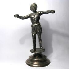 1920 Rare Antique Art Deco Nude Swimmer Lady on Flower Bronze Figure Car Mascot