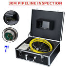 """30M Sewer Waterproof Camera Pipe Pipeline Drain Inspection System 7"""" LCD"""