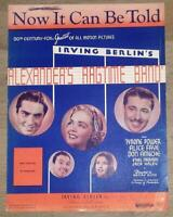 Now It Can Be Told Tyrone Power, Alice Faye Ethel Merman 1928 Movie Sheet Music