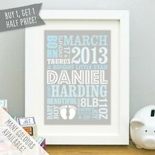 Personalised New Baby Print Gift Birth Details Baby Feet Boy Girl Nursery Art