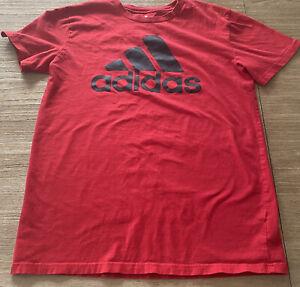 Boys Youth L 14-16 ADIDAS Cotton T Shirt Red-Black Logo WORN ONCE EUC NICE SHIRT