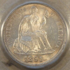 1891 Seated Liberty Dime 10c PCGS Certified MS64 Old Green Holder