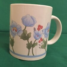10oz Coffee Mug With Blue And Rose Colored Flowers