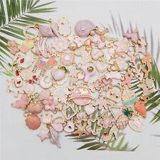 20PCS Pink Alloy Mixed Flower Animal Star Enamel Charms Pendant DIY Findings