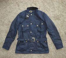 BNWT Barbour International Gauging Biker Waxed Belted Jacket in Blue - Size L