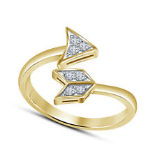 Round Cut Diamond Arrow Bypass Adjustable Toe Ring 14K Yellow Gold Finish