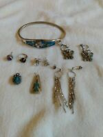 Turquoise Silver Mixed Jewelry Lot