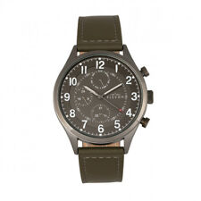 Elevon Lindbergh Men's Olive Leather Band Grey Watch with Day Date ELE102-6
