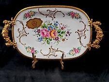 Vtg Limoges Porcelain Serving Tray Heavy Gold Edging Floral France Handles