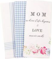 Gingham Flowers Blue & White Patterned Kitchen Dish Towels Cotton Set of 3