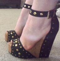 Bebe Black Platform Heels Shoes Size 7