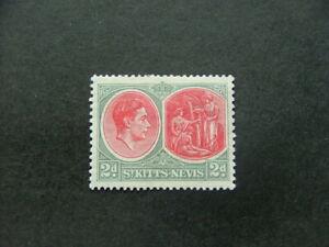 St Kitts - Nevis KGVI 1938 2d scarlet & grey SG71 MM