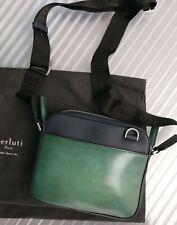 BERLUTI Contraste Mini Leather Messenger Bag Green & Navy Blue UNIQUE & RARE