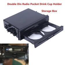 Car Storage Box Double Din Dash Trim Radio Pocket Kit Drink Cup Holder US