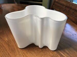 Iittala Alvar Aalto Midcentury Vintage White Glass Vase