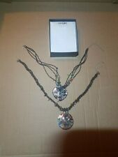 East 5th lot of 2 Necklaces glass Heart Glitter/ glass Sparkle circle With Box