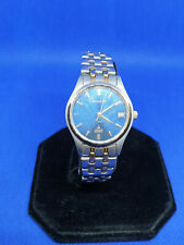 ladies accurist chrome bracelet watch,blue face gold hands,date display.#b1.