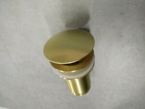 Brushed brass gold 32mm Pop Up NO Overflow Waste Basin Vanity Push Plug Drain