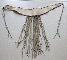 "Vintage leather Suede Belt Fringe Cream Hippie Large 30"" festival western anthro"