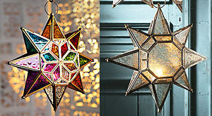 Large star glass hanging lantern Moroccan style-clear or coloured-NEW