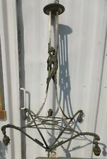 LUSTRE EN BRONZE NICKELE ART DECO 1930  DECOR CHARDON STRUCTURE  SANS VERRERIE
