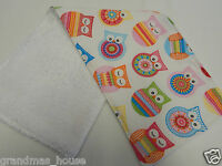 Crochet Owls - Pink Burp Cloth -1 Only Toweling Back GREAT GIFT IDEA