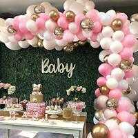 Pink Balloon Arch Garland Kit 124 Pieces White Pink Gold and Gold Confetti Latex