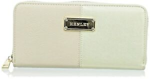 Henley Womens Skye Wallet / Purse ZIPPED BEIGE / PYTH / Gold Gift Boxed