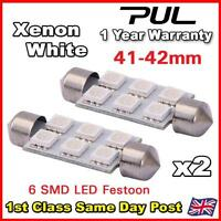 2 x 41mm / 42mm 6 SMD LED FESTOON NUMBER PLATE / INTERIOR BULB -  WHITE