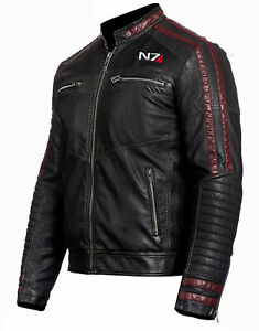 MASS EFFECT 3 - N7 COMMANDER SHEPARD STYLISH MOTORCYCLE LEATHER JACKET