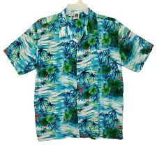 Sz L Hawaiian Aloha Shirt KENNINGTON LTD CLASSICS Grass Shacks Turquoise Multi