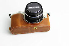 Brown Half leather case bag grip For Olympus E-PL8 camera EPL8 Tan bottom-open