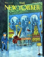 1987 Musical Instruments Museum art Chas Addams Mar. 9 New Yorker Mag COVER ONLY