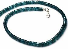 NATURAL GEM RARE GREEN COLOR KYANITE 5.5MM FACETED HEISHI BEADS NECKLACE 16""