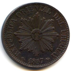 Uruguay Republic 5 Centesimos 1857 D Lyon Km 8