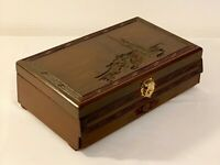VINTAGE CHINESE CARVED WOODEN JEWELLERY BOX  ORIENTAL TRINKET  BOX 12 INS LONG