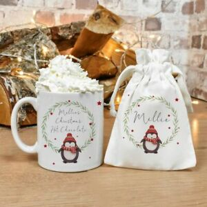 Personalised Penguin Wreath Mug/Cup Tea Coffee Gift Any Name Cute Xmas Present