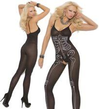 Opaque Bodystocking W/Skeleton Print, Glow in the Dark, Bones, Halloween, Emo
