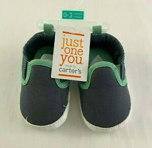 Carters Baby Boy's Gray & Mint Baby Pair of Shoes 0-3 Months NWT New with Tags