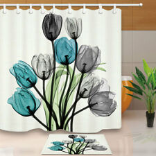 """Flower Watercolor Painting Bathroom Waterproof Fabric Shower Curtain & Hooks 71"""""""