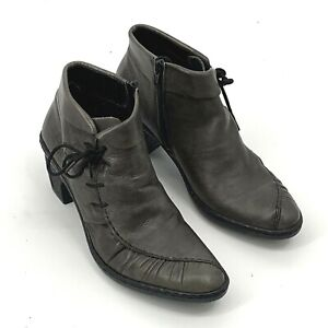 Rieker Gray Leather Zip Laces Ankle Fashion Boots Bootie Size 38 US 7.5