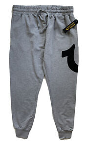 TRUE RELIGION Mens Logo Jogger Lounge Pants Sweatpants Grey Black NWT M L