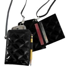 MIAMICA BLACK QUILTED PDA CELL PHONE CASE WALLET ID CARD IPHONE BLACKBERRY