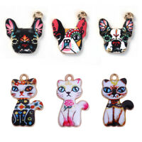 10 PCs Alloy Flower Enamel Cat Dog Animal Charms Pendants DIY Jewelry Crafts