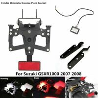 Black Fender Eliminator LED License Plate Bracket for SUZUKI GSXR1000 2007 2008