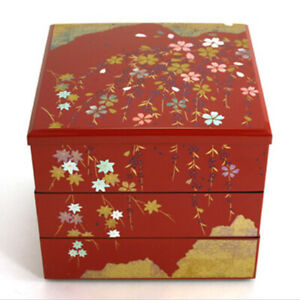 Japanese Stack Bento Box Lunch Container 3 Tiers Lacquered Sakura Made in Japan