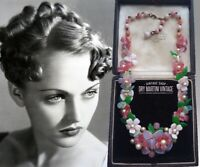 VINTAGE ART DECO EARLY MIRIAM HASKELL GLASS FLOWER NECKLACE COLLECTOR BRIDAL
